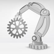 industrial spare part hold by automated robotic hand vector illustration - stock illustration