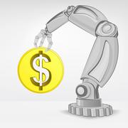 golden dollar coin hold by automated robotic hand vector illustration - stock illustration