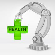 Humanic health care hold by automated robotic hand vector illustration Stock Illustration