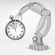 stopwatch hold by automated robotic hand vector illustration - stock illustration