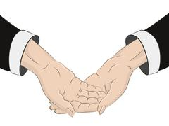 isolated two human hands across with black sleeves vector illustration - stock illustration