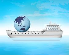 Stock Illustration of asia trading on freighter deck transportation