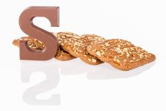 chocolate letter and biscuits dutch sweets - stock photo