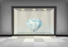 Diamond jewel in illuminated storefront vitrine Stock Illustration
