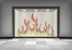 Flame explosion in illuminated storefront vitrine Stock Illustration