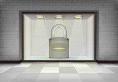 Closed padlock in illuminated storefront vitrine Stock Illustration