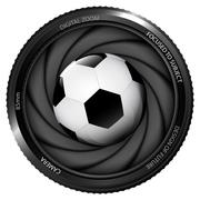 Football ball in shutter ready to snapshot Stock Illustration