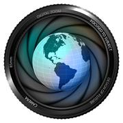 America earth globe in shutter ready to snapshot Stock Illustration