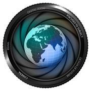 africa earth globe in shutter ready to snapshot - stock illustration