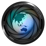 asia earth globe in shutter ready to snapshot - stock illustration