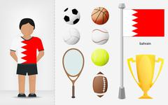 Bahraini sportsman with sport equipment collection Stock Illustration