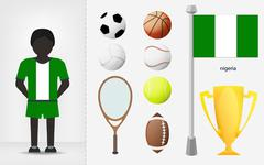 Nigerian sportsman with sport equipment collection Stock Illustration
