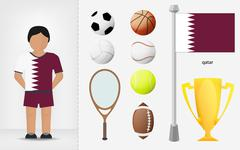 qatar sportsman with sport equipment collection - stock illustration