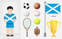 Scotch sportsman with sport equipment collection Stock Illustration