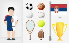 Stock Illustration of serbian sportsman with sport equipment collection