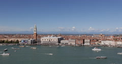 Stock Video Footage of Venice Italy Skyline Aerial View Venetian Lagoon Establishing Shot Boats Passing