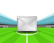 Message in the midfield of football stadium vector illustration Stock Illustration