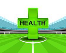 sport health icon in the midfield of football stadium vector illustration - stock illustration
