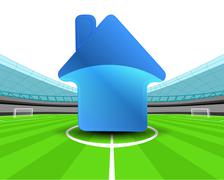 Building icon in the midfield of football stadium vector illustration Piirros