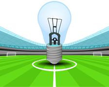 Blue lightbulb in the midfield of football stadium vector illustration Piirros