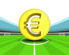 Golden euro coin in the midfield of football stadium vector illustration Stock Illustration