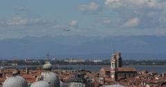 Venice Aerial View Skyline Establishing Shot Aircraft Flight Airplane Landing - stock footage