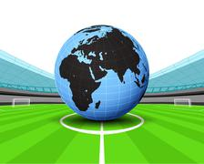 Africa world globe in the midfield of football stadium vector illustration Stock Illustration