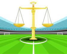 Justice weight in the midfield of football stadium vector illustration Piirros