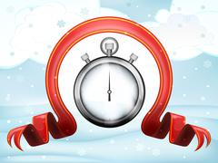 time countdown with xmas bow at winter scenery - stock illustration