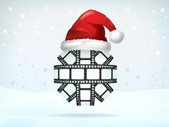 Photo strip sphere covered with santa cap Piirros