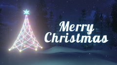 Luminous Merry Christmas and Christmas tree. Loop-able Stock Footage