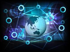 Asia earth globe in business world transfer network Stock Illustration