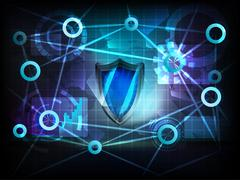 Security shield in business world transfer network Piirros