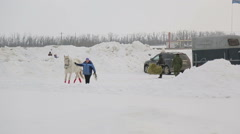 Riding in a sleigh, paddocks, training Arkistovideo