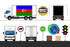Stock Illustration of isolated azerbaijan flag labeled truck