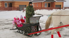 Children ride in a sleigh Stock Footage