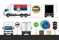 isolated serbia flag labeled truck - stock illustration