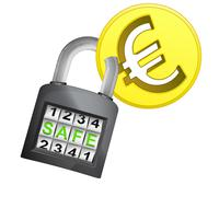 Golden euro coin caught in security closed padlock Stock Illustration