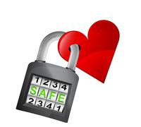 Red heart caught in security closed padlock Stock Illustration