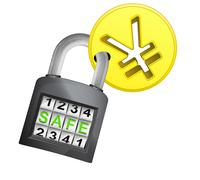 Golden yuan coin caught in security closed padlock Stock Illustration