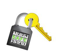Golden key caught in security closed padlock Stock Illustration