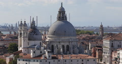 Establishing Shot Aerial View Venice Skyline Basilica Santa Maria Della Salute Stock Footage
