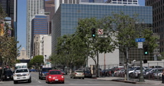 Commuters Commuting Los Angeles City Center Downtown Landmarks Cars Passing Day - stock footage