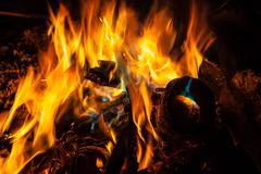 orange and blue flames of fire - stock photo