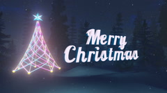 Animated Merry Christmas at dark night. Loop-able Stock Footage
