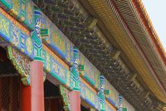 detail of tiananmen forbidden city wall - stock photo