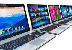 Row of laptops - stock illustration