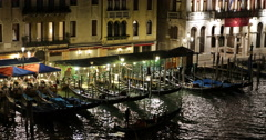 Gondola Passing Venice Grand Canal Illuminated Night Lights Gondolier Ride Move Stock Footage