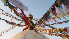 Boudhanath Stupa at sunset -  Kathmandu, Nepal - stock footage