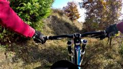 Hd: downhill cycling - stock video. mountain biker, cycling downhill  Stock Footage